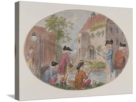 View of Anglers Opposite Sadler's Wells Theatre. Finsbury, Islington, London, C1800-S Woodward-Stretched Canvas Print