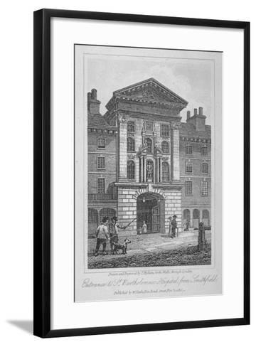 View of the Entrance of St Bartholomew's Hospital from Smithfield, City of London, 1816-Thomas Higham-Framed Art Print