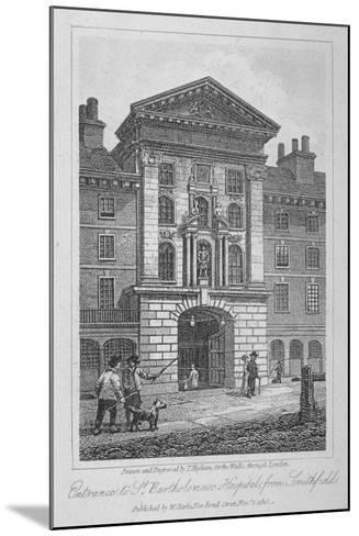 View of the Entrance of St Bartholomew's Hospital from Smithfield, City of London, 1816-Thomas Higham-Mounted Giclee Print