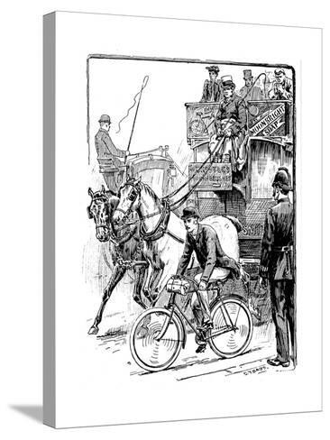 Cyclist in Busy London Traffic Riding a Machine of the Rover Safety Type, 1895-Stephen T Dadd-Stretched Canvas Print