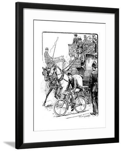 Cyclist in Busy London Traffic Riding a Machine of the Rover Safety Type, 1895-Stephen T Dadd-Framed Art Print