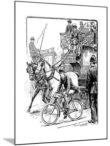 Cyclist in Busy London Traffic Riding a Machine of the Rover Safety Type, 1895-Stephen T Dadd-Mounted Giclee Print