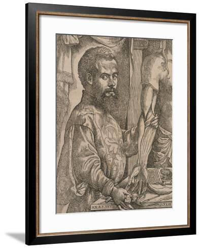 Andreas Vesalius Dissecting the Muscles of the Forearm of a Cadaver, 1543-Steven van Calcar-Framed Art Print