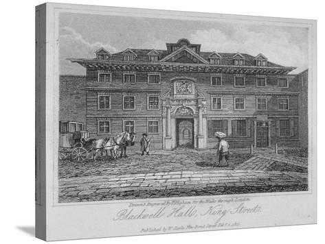 View of Blackwell Hall on King Street with Carriage and Figures, City of London, 1817-Thomas Higham-Stretched Canvas Print