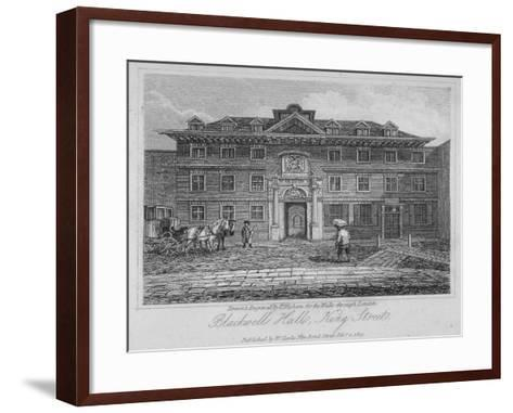 View of Blackwell Hall on King Street with Carriage and Figures, City of London, 1817-Thomas Higham-Framed Art Print