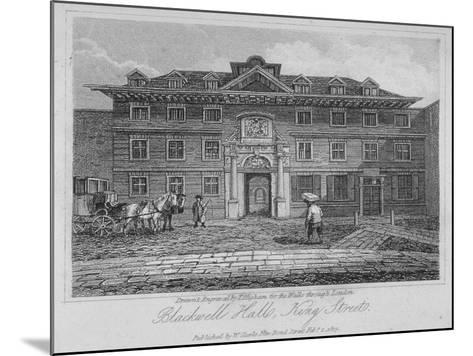 View of Blackwell Hall on King Street with Carriage and Figures, City of London, 1817-Thomas Higham-Mounted Giclee Print
