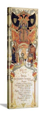 Menu of the Feast Meal to Celebrate of the 300th Anniversary of the Romanov Dynasty, 1913-Sergei Yaguzhinsky-Stretched Canvas Print