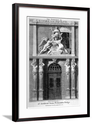 Entrance to Coade and Sealey's Gallery of Coade Stone Sculpture, Lambeth, London, 1802-Samuel Rawle-Framed Art Print