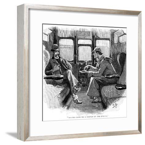 The Adventure of Silver Blaze, Holmes and Watson on Train-Sidney E Paget-Framed Art Print