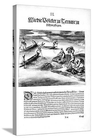 Fishing with Indians, 1606-Theodore de Bry-Stretched Canvas Print