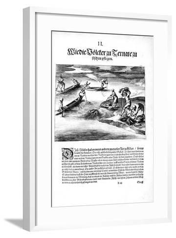 Fishing with Indians, 1606-Theodore de Bry-Framed Art Print