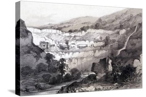 View of Caves, Ajunta, India, 1844-Thomas Colman Dibdin-Stretched Canvas Print