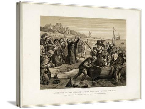 Departure of the Pilgrim Fathers from Delft Haven, July 1620-T Bauer-Stretched Canvas Print