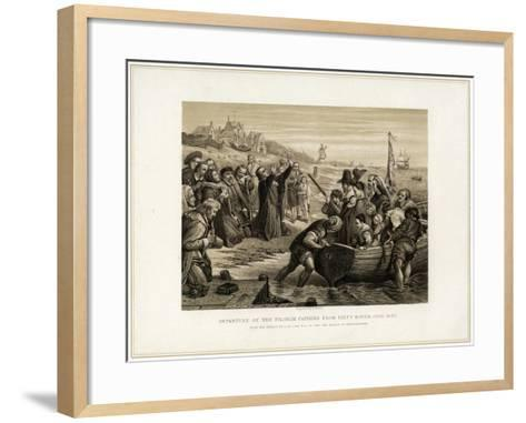 Departure of the Pilgrim Fathers from Delft Haven, July 1620-T Bauer-Framed Art Print