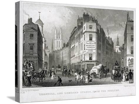 Cornhill, London, 1830-S Lacey-Stretched Canvas Print