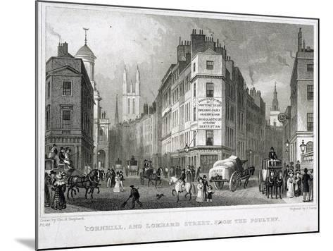 Cornhill, London, 1830-S Lacey-Mounted Giclee Print