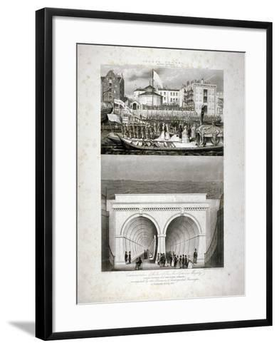 Two Views of the Thames Tunnel, Commemorating the Visit by Queen Victoria, London, 1843-T Brandon-Framed Art Print