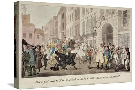 People Bargaining for Mounts at West Smithfield, London, 1825-Theodore Lane-Stretched Canvas Print