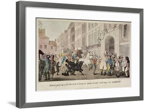 People Bargaining for Mounts at West Smithfield, London, 1825-Theodore Lane-Framed Art Print