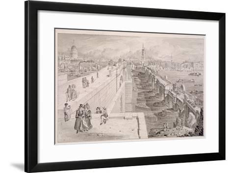 London Bridge (Old and New),London, 1831-Thomas Hosmer Shepherd-Framed Art Print