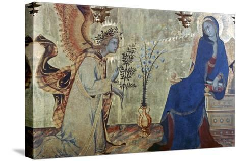 The Annunciation and Two Saints, (Detail), 1333-Simone Martini-Stretched Canvas Print