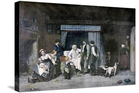 The Worker and His Children, 1892-Theophile Emmanuel Duverger-Stretched Canvas Print