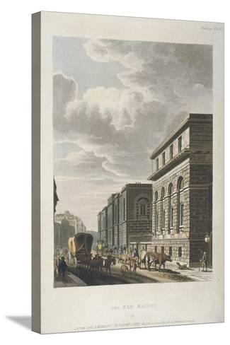 View of Old Bailey, Looking North, City of London, 1814-Rudolph Ackermann-Stretched Canvas Print