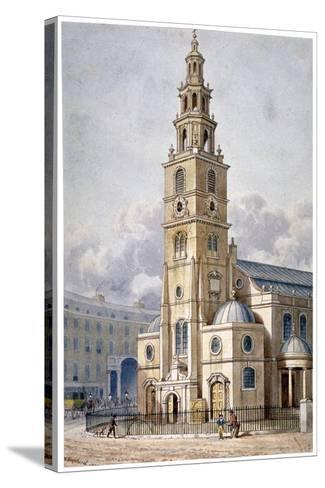 South-West View of the Church of St Clement Danes, Westminster, London, 1814-Thomas Hosmer Shepherd-Stretched Canvas Print