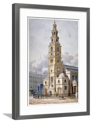 South-West View of the Church of St Clement Danes, Westminster, London, 1814-Thomas Hosmer Shepherd-Framed Art Print