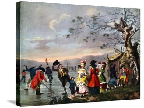 Winter Amusement: a View in Hyde Park from the Sluice at the East End, Late 18th Century- Tookey-Stretched Canvas Print