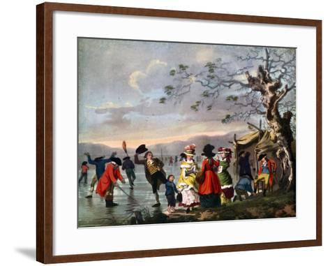 Winter Amusement: a View in Hyde Park from the Sluice at the East End, Late 18th Century- Tookey-Framed Art Print