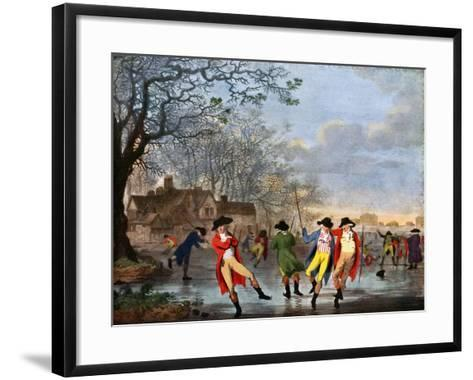 Winter Amusement: a View in Hyde Park from the Moated House, Late 18th Century- Tookey-Framed Art Print