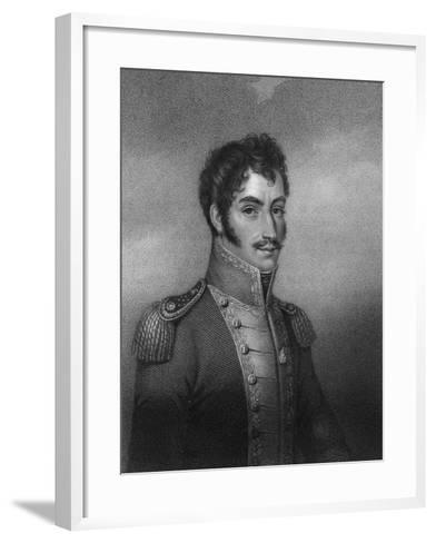 Simon Bolivar, 19th Century South American Revolutionary-W Holl-Framed Art Print