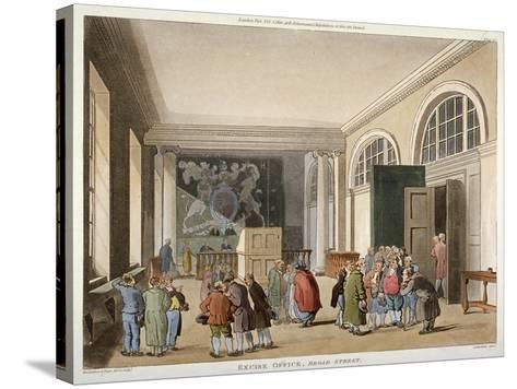 Interior of the Excise Office, Old Broad Street, City of London, 1810-Thomas Sutherland-Stretched Canvas Print