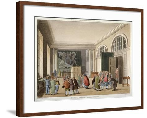Interior of the Excise Office, Old Broad Street, City of London, 1810-Thomas Sutherland-Framed Art Print