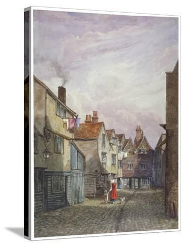 View of a Woman and a Child Walking Down Crown Court, Bermondsey, London, C1825-W Barker-Stretched Canvas Print