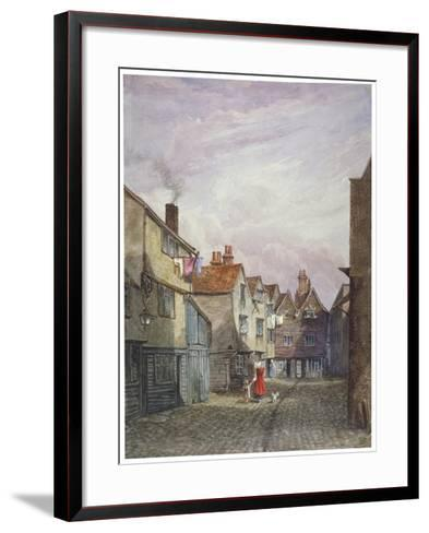 View of a Woman and a Child Walking Down Crown Court, Bermondsey, London, C1825-W Barker-Framed Art Print