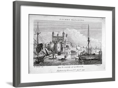 View of the Tower of London with Boats on the River Thames, 1795-Thomas Tagg-Framed Art Print