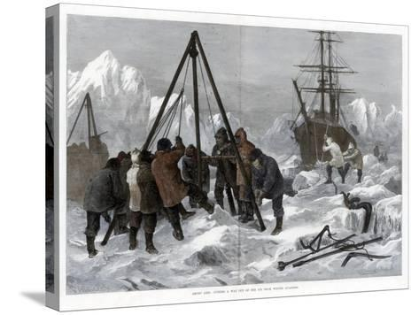 Arctic Life, Cutting a Way Out of the Ice from Winter Quarters, 1875-W Palmer-Stretched Canvas Print