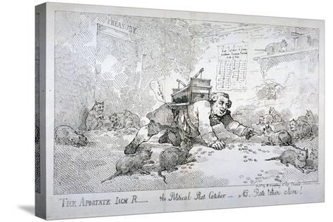 The Apostate Jack R - the Political Rat Catcher - Nb. Rats Taken Alive!, 1784-Thomas Rowlandson-Stretched Canvas Print