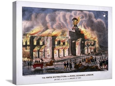 Royal Exchange (2N) Fire, London, 1838-W Clerk-Stretched Canvas Print