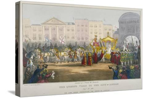 View of Temple Bar During Queen Victoria's Visit to the City of London in 1837-W Clerk-Stretched Canvas Print