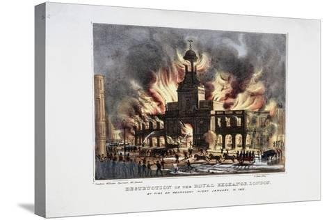 Destruction of the Royal Exchange (2N) Fire, London, 1838-W Clerk-Stretched Canvas Print