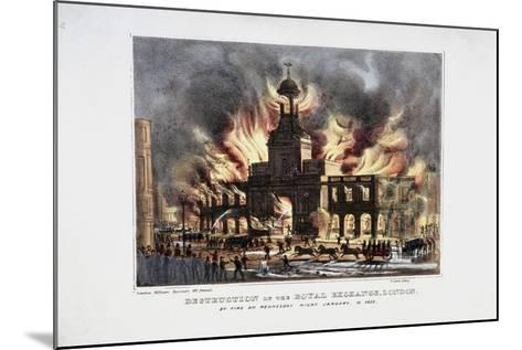 Destruction of the Royal Exchange (2N) Fire, London, 1838-W Clerk-Mounted Giclee Print