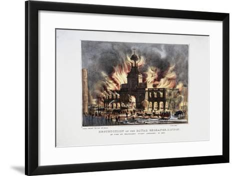 Destruction of the Royal Exchange (2N) Fire, London, 1838-W Clerk-Framed Art Print