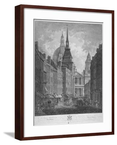 Ludgate Hill, Church of St Martin Within Ludgate and St Paul's Cathedral, City of London, 1795-Thomas Malton II-Framed Art Print