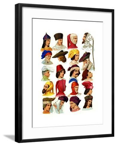 Men's Hats of Different Classes of Society, 13th-16th Century-Thurwanger Freres-Framed Art Print
