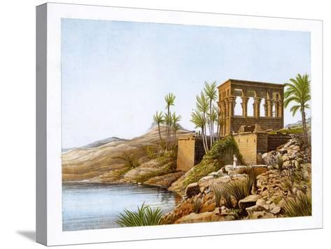 Egyptian Temple by the River Nile, Egypt, C1870-W Dickens-Stretched Canvas Print
