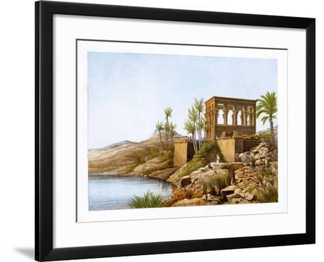 Egyptian Temple by the River Nile, Egypt, C1870-W Dickens-Framed Art Print