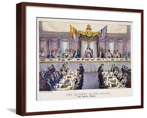 Queen Victoria at the Guildhall Banquet, London, 1837-W Lake-Framed Art Print
